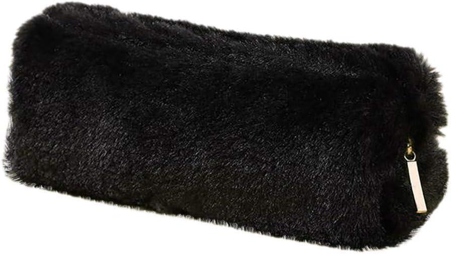 Estuche de peluche rosa y negro para niños, color Negro Free Size: Amazon.es: Oficina y papelería