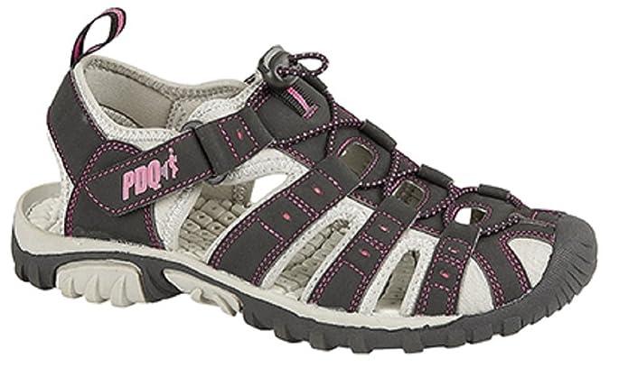Sandalias de senderismo de mujer PDQ, cierre de velcro, color rojo, color, talla 36.5