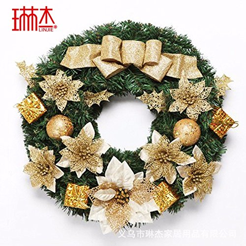 Christmas Garland for Stairs fireplaces Christmas Garland Decoration Xmas Festive Wreath Garland with Christmas Wreath 50cm Gold by Caribou Furniture And Decor