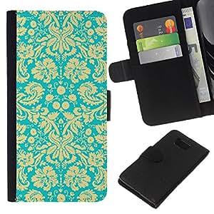- TURQUOISE ART WALLPAPER BLOSSOMS FLORAL VINTAGE - - Prima caja de la PU billetera de cuero con ranuras para tarjetas, efectivo desmontable correa para l Funny House FOR Samsung ALPHA G850