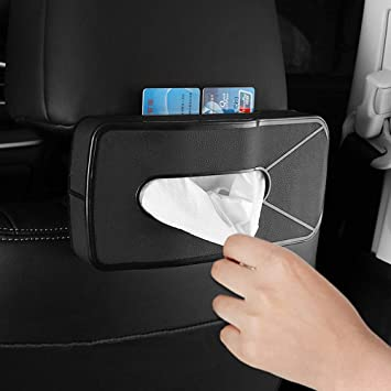 Multi-use Paper Towel Cover Case with One Tissue Refill for Car /& Truck Decoration Mr.Ho Luxury Black Leather Car Napkin Holder