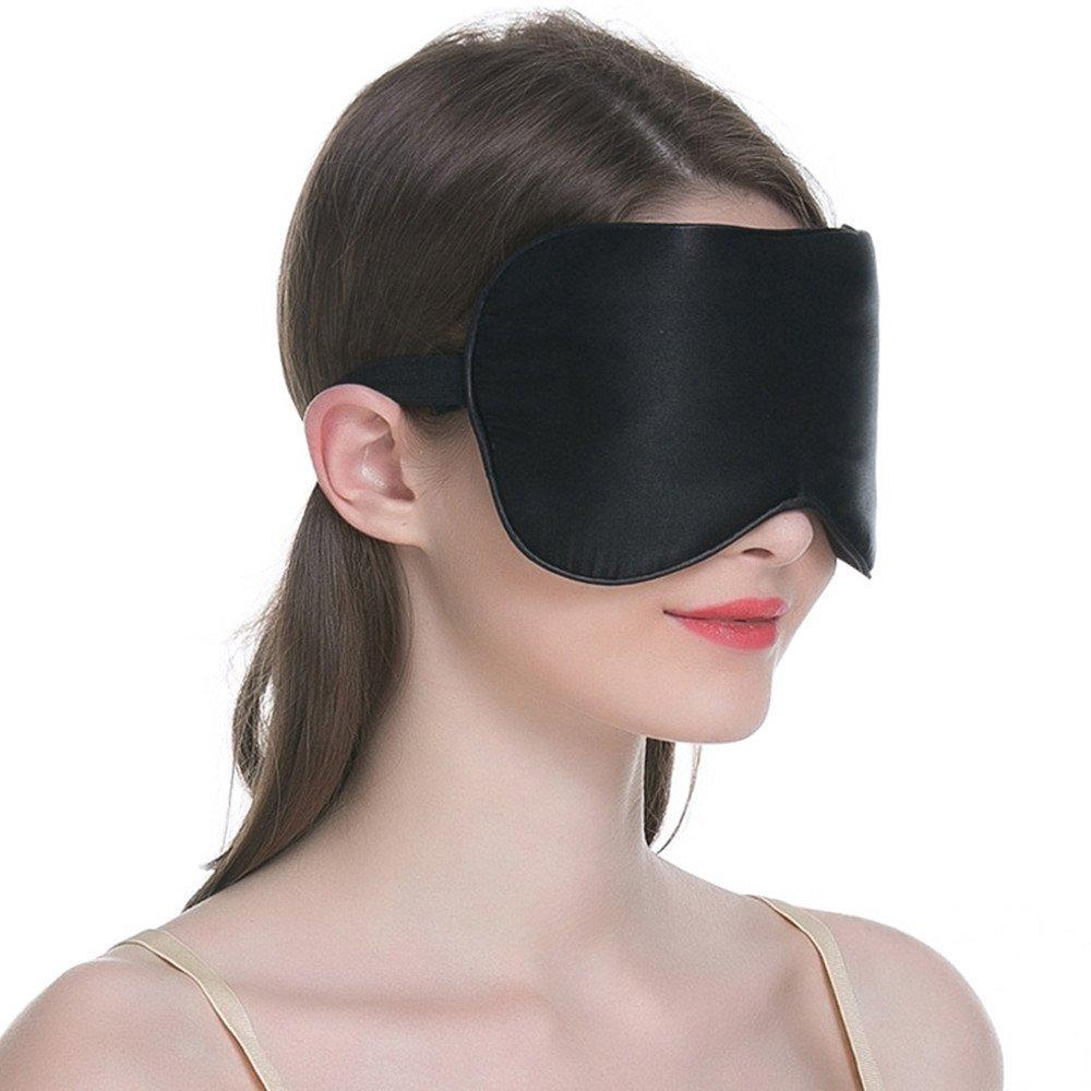 SLHP dormir máscara de ojos, máscara, tela de seda natural y Natural algodón saco de dormir máscara de ojo con correa ajustable para hombres, ...