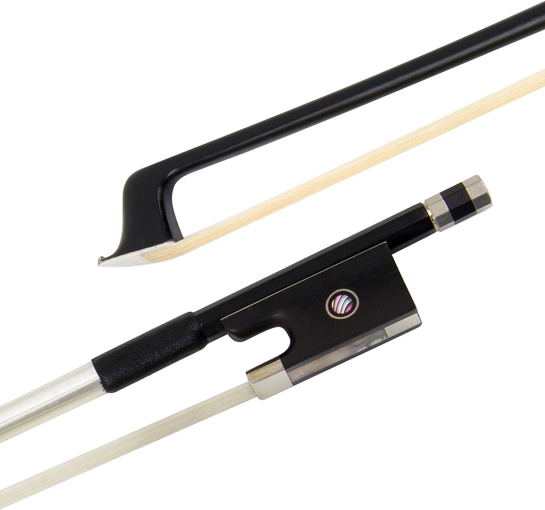 superficie a coste in fibra di carbonio ben bilanciato Fiocco per violino 4//4 rana AAA mongolia 4//4 Nero SURVEAL bastone rotondo in ebano