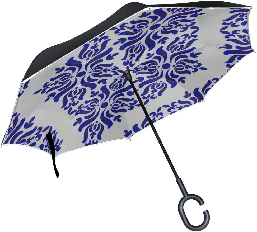 Double Layer Inverted Inverted Umbrella Is Light And Sturdy Porcelain Decorative Pattern Abstract Floral Wallpaper Reverse Umbrella And Windproof Umb