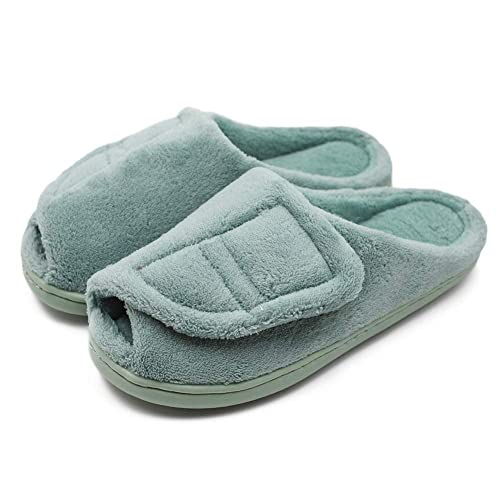 60eb96587c92a Women's Furry Memory Foam Diabetic Slippers Comfy Cozy Arthritis Edema  Shoes Adjustable Open Toe Plush