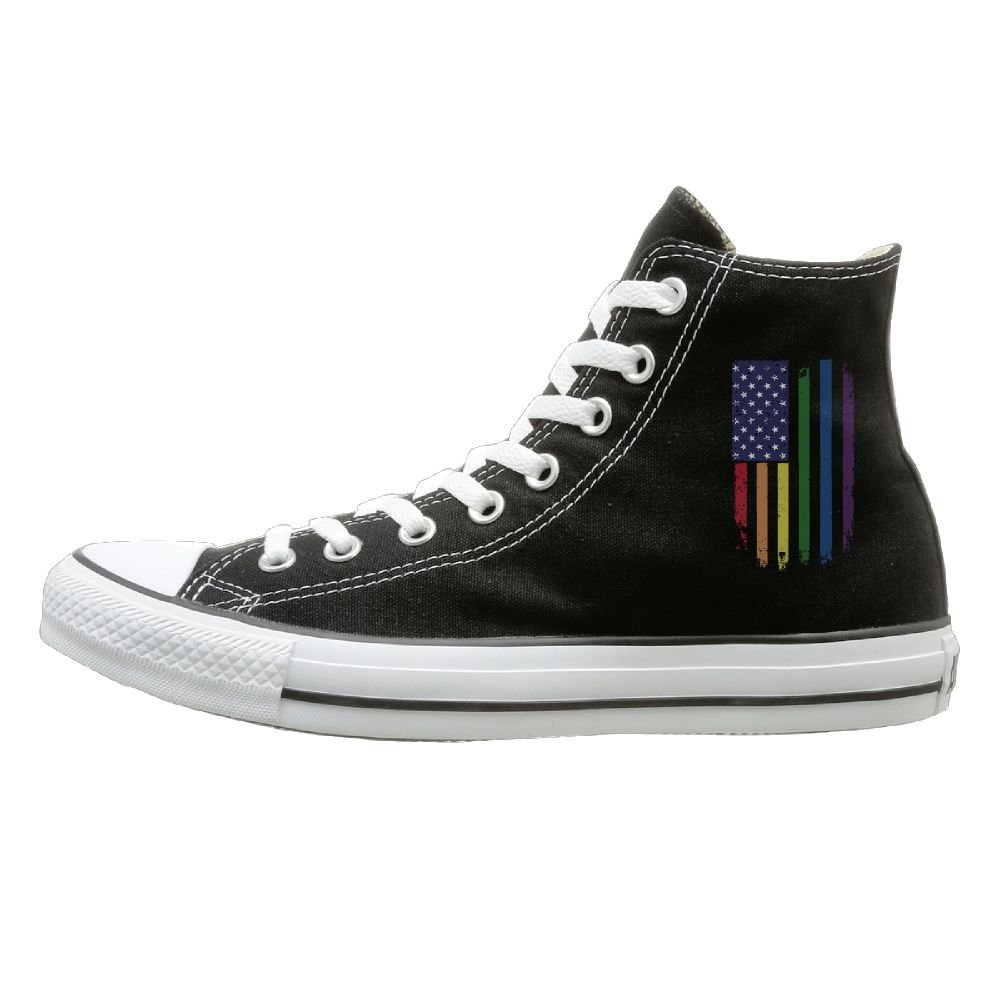 SH-rong Rainbow American Flag Gay Pride High Top Sneakers Canvas Shoes Cool Sport Shoes Unisex Style Size 38