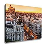 Ashley Canvas Panoramic View Of Gran Via Madrid Spain Wall Art Decor Stretched Gallery Wrap Giclee Print Ready to Hang Kitchen living room home office, 24x30