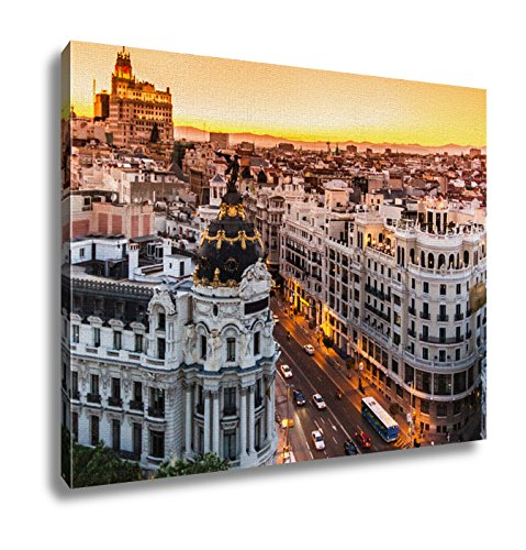 Ashley Canvas Panoramic View Of Gran Via Madrid Spain Wall Art Decor Stretched Gallery Wrap Giclee Print Ready to Hang Kitchen living room home office, 24x30 by Ashley Canvas