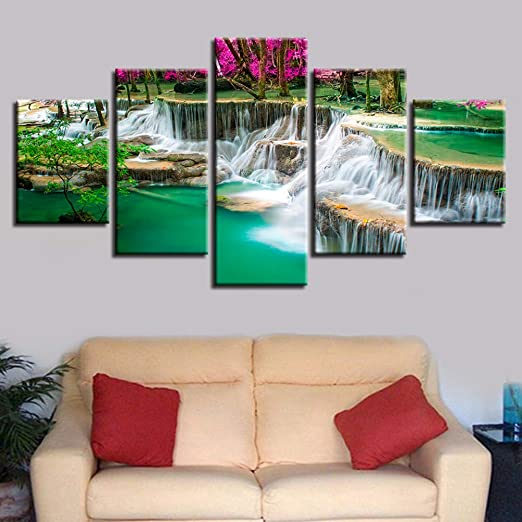 5 Piece Green Fountain Waterfall Water Canvas Wall Art Picture Print Home Decor