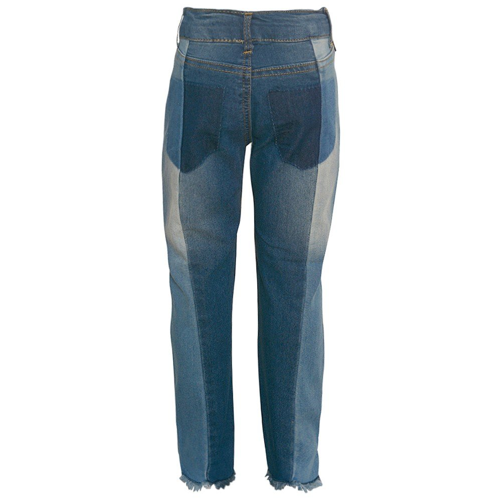 dollhouse Little Girls Blue Ombre Vertical Paneled Trendy Denim Pants 6