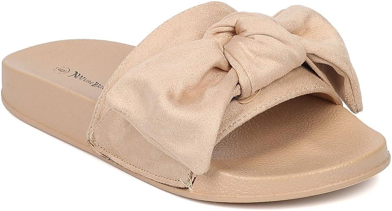 Alrisco Women Faux Suede Open Toe Bow Tie Slip On Footbed Sandal HB05
