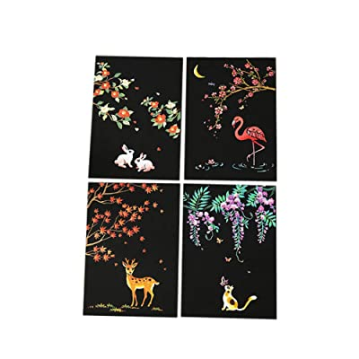 Afazfa Painting Paper, 4pcs 20x14cm Magic Scratch Art Painting Paper with Drawing Stick Kids Toy (B): Toys & Games