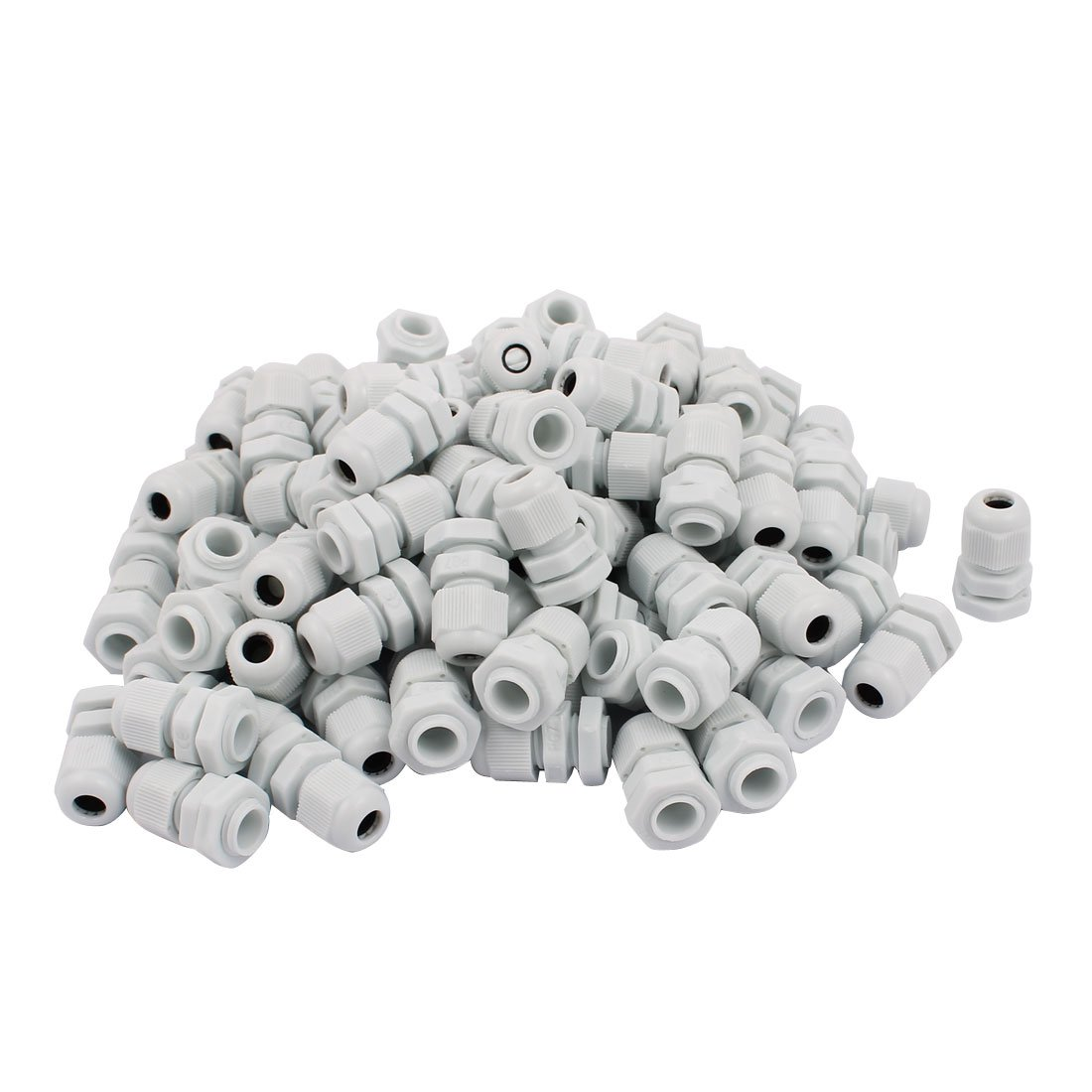 uxcell White Plastic PG7 Water Resistance Cable Gland Fixing Connector Joints Fastener 100 PCS