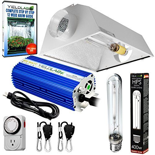 Yield Lab Horticulture 400w HPS Grow Light Cool Hood Reflect