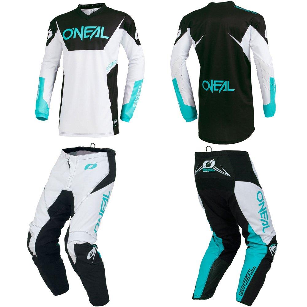 O'Neal Element Racewear White Adult motocross MX off-road dirt bike Jersey Pants combo riding gear set (Pants W38/Jersey X-Large) O' Neal