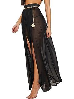 63d521a93e Cover Ups for Swimwear Women's Tie Side Boho Split Long White Beach Dress  Chiffon Sheer Maxi