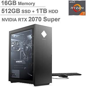 2020 Latest ELUK OMEN 25L Gaming PC (AMD Ryzen 7 3700X Processor, 8GB GDDR6 NVIDIA RTX 2070 Super GPU, Windows 10 Home, Glass Window, 512GB NVMe SSD + 1TB HDD, 16GB DDR4 RAM) VR Ready Desktop