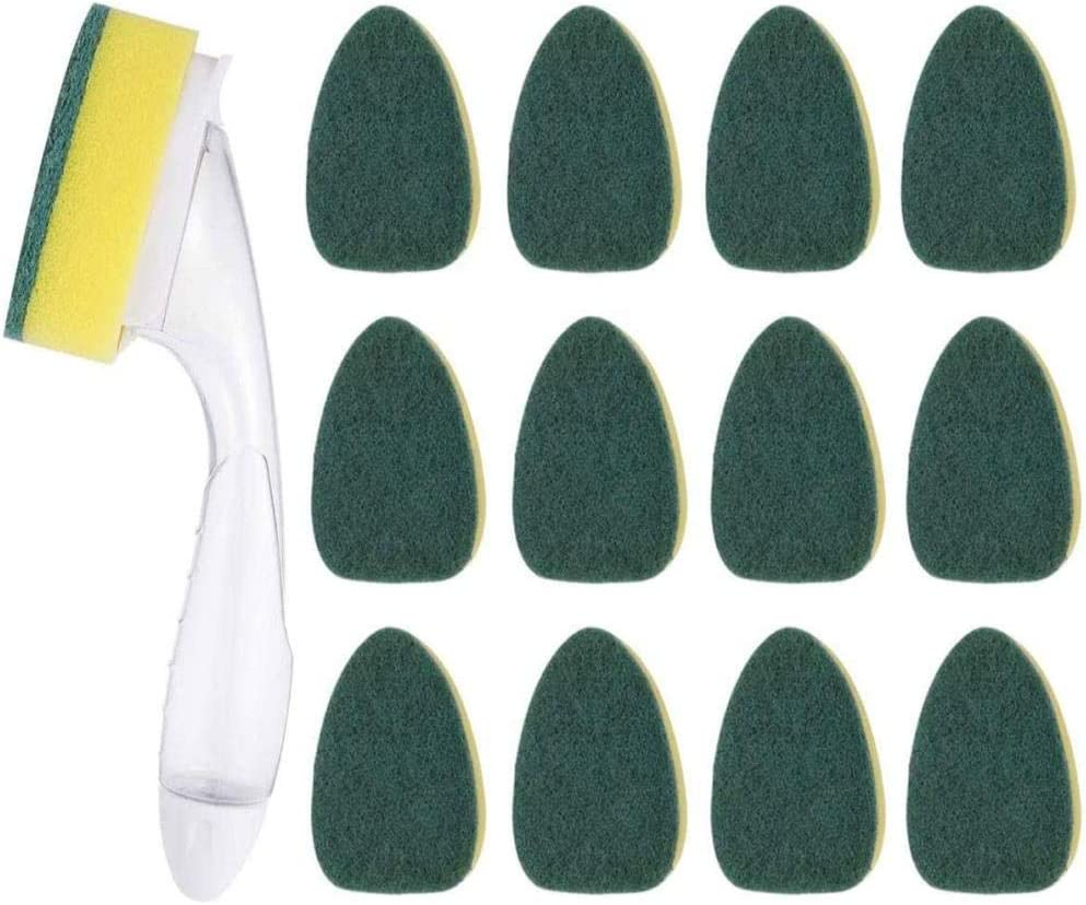 12 Refill Replacement Sponge Heads and 1 Dish Wand Cleaning Brush Sponge Brush for Kitchen Sink Cleaning Brush