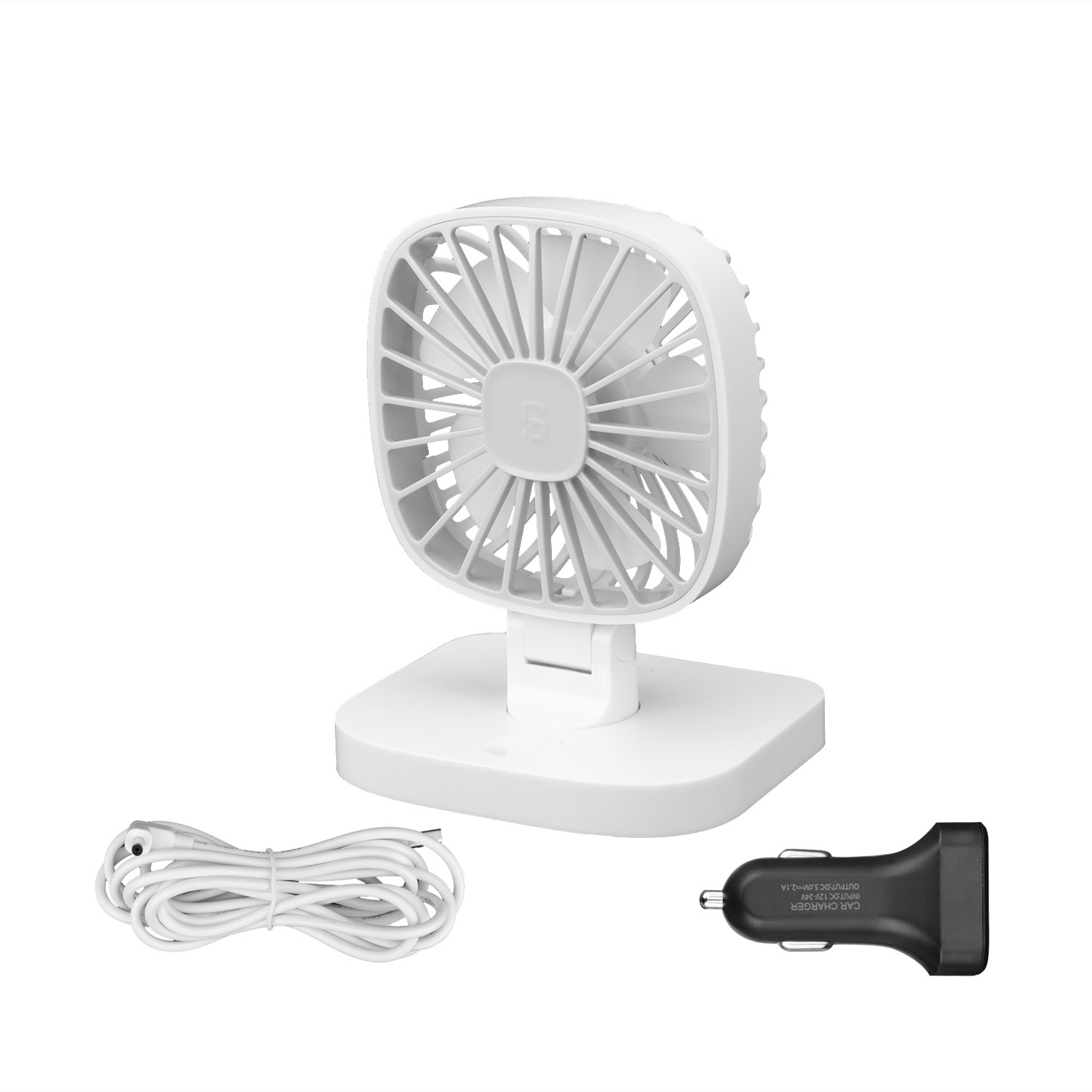 Portable 12V/24V USB Personal Table Fan Vehicle Car Cooling Fan Adjustable Angle with 3 Speeds, Cigarette Lighter Plug & DC Connector for Two Fans Using At The Same Time By Rely2016
