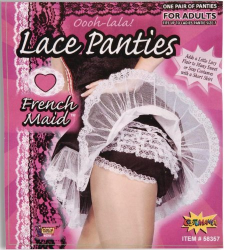 Forum Novelties Women's French Maid Lace Panties Costume Accessory, Black/White, (Halloween French Maid Costume Accessories)