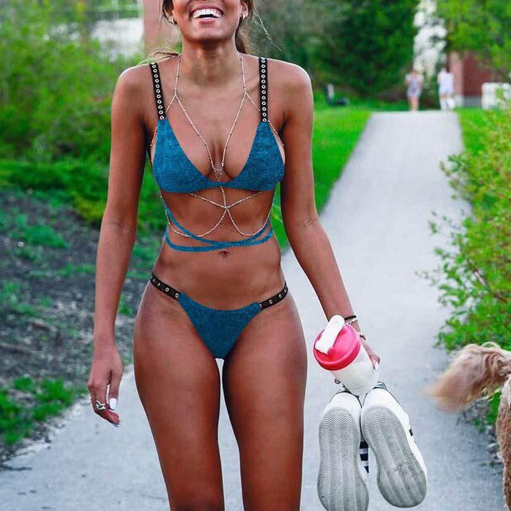 CHIDY Women Velvet Cross Strap Bikini Push-Up Pad Swimwear Bathing Suits Two Piece Swimsuits Green by CHIDY (Image #2)