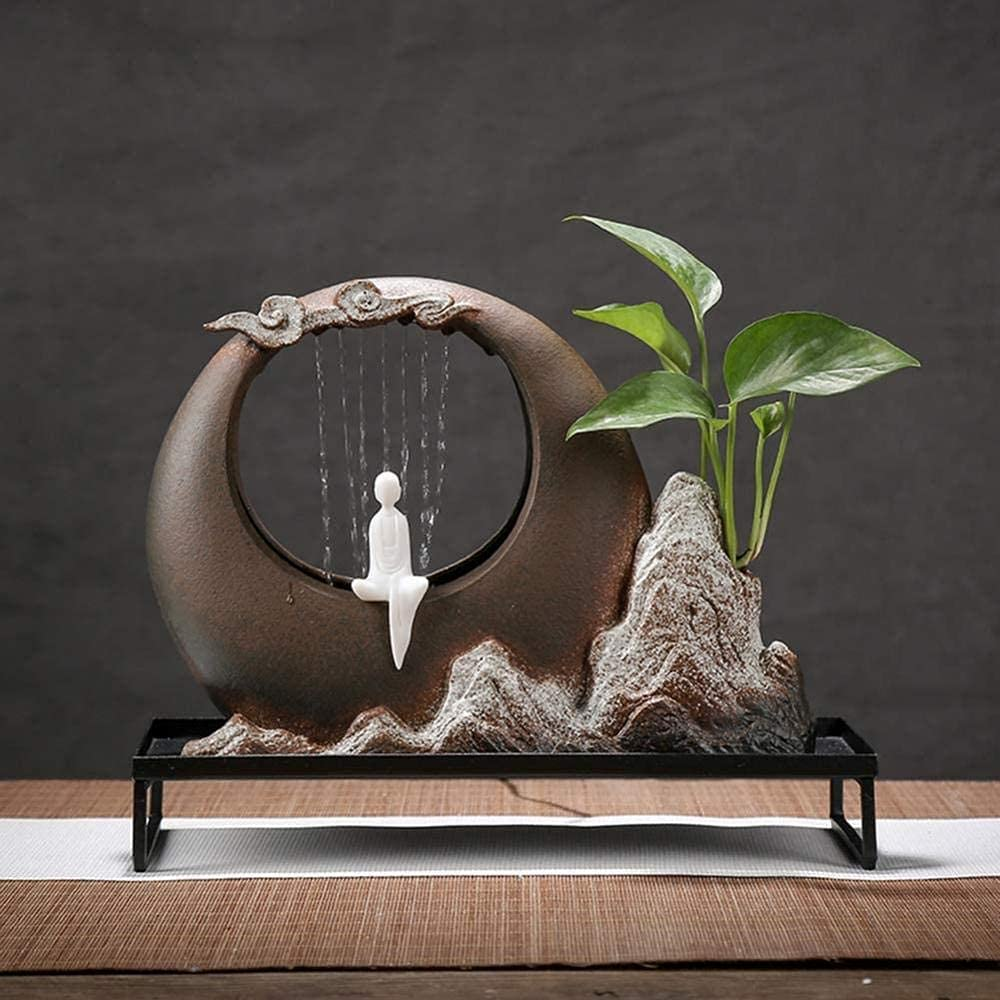 L.TSN Fuente de Mesa Zen para decoración del hogar con circulación de Agua Artesanal, corazón ceacute, cerámica para Oficina, Sala de Estar, Dormitorio