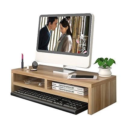 Yumu de madera elevador de Monitor del ordenador soporte para organizador de escritorio suministros almacenamiento pantalla