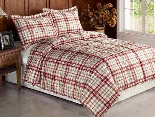 Chezmoi Collection 3-piece Beige Red Plaid Flannel Feel Down Alternative Comforter Set Queen /Full