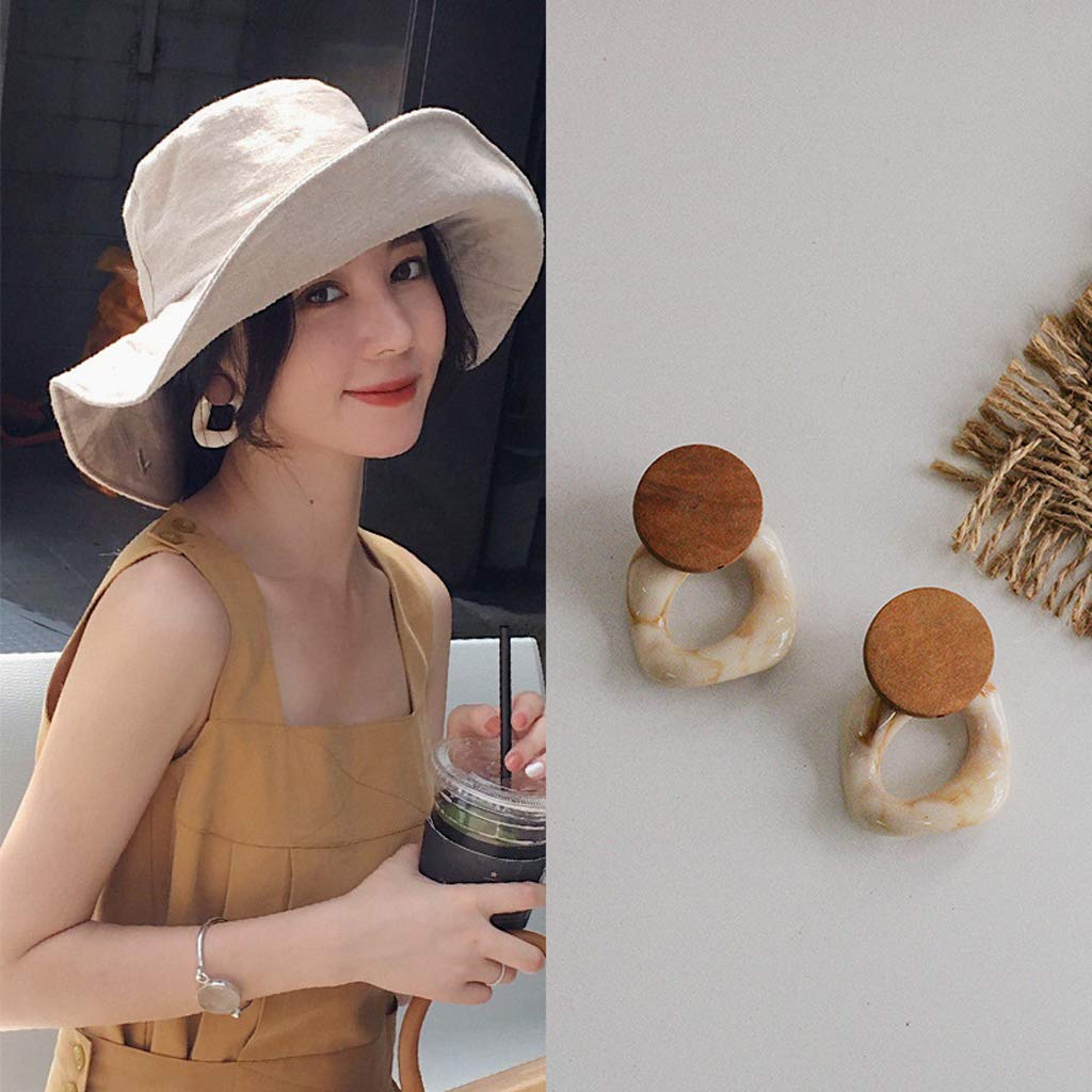 Rhfemd Acid Acrylic Irregular Resin Stud Earrings Wood Circle Studs Fashion Jewelry