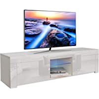Dripex LED TV Stand Unit for Living Room - High Gloss Entire Front - 130 cm - TV Table Bench Cabinet Cupboard - White