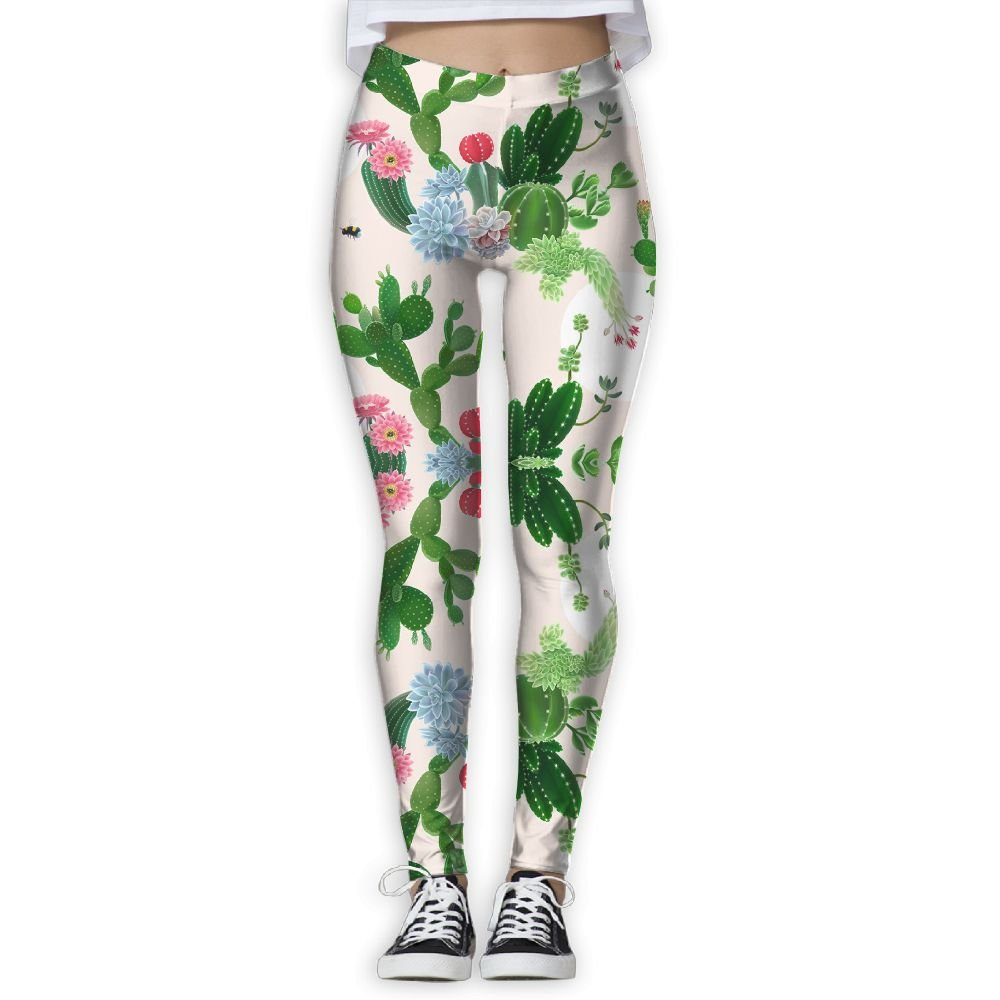 DYOW Women's Delight Cactus Desert Print Sports Gym Yoga Leggings Pants