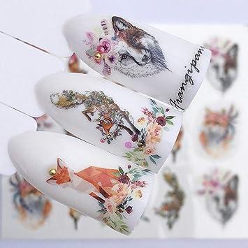 840acd7cf30d Amazon.com: 2019 10pcs/ Set NEW Designs Wolf Deer Flamingo Nail Art Water  Decals Transfer Sticker Manicure Nail Decoration … (Wolf YZW3075): Beauty