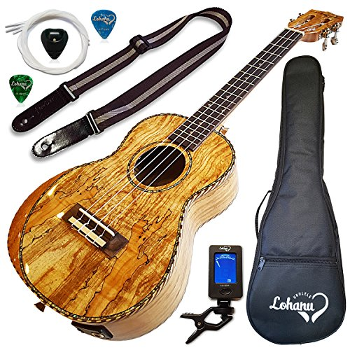 Ukulele Amazing Looking Spalted Maple With Armrest Glossy Finish With 3 Band Electric EQ Pickup (Tenor)