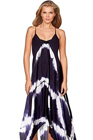 Amazon Com Raviya Navy Tie Dye Maxi Dress Clothing