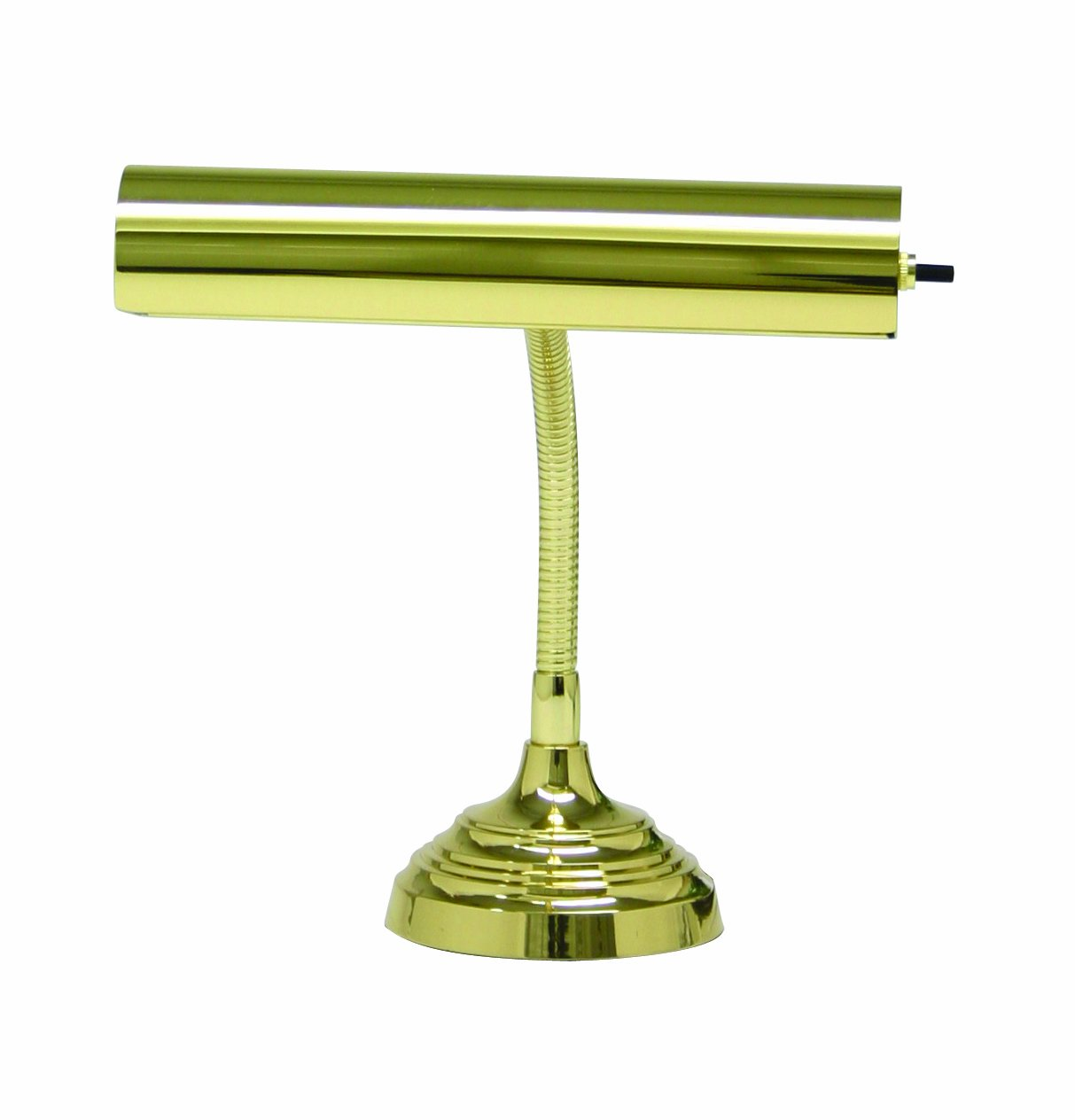 House Of Troy AP10-20-61 Advent Collection Gooseneck Portable Piano/Desk Lamp, 11-1/2''H x 10''W, Polished Brass