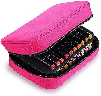 Estuche para 40 rotuladores de gran capacidad con compartimentos para lápices labiales, bolsa de almacenamiento para rotuladores, organizador de bolsas, color rosa rojo: Amazon.es: Oficina y papelería