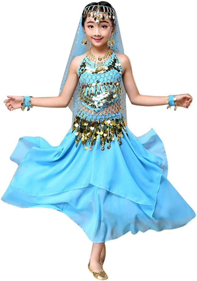winwintom Girls Belly Dance Traje Disfraz India Top + Falda Ropa ...