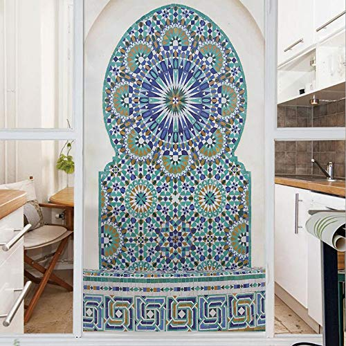 Decorative Window Film,No Glue Frosted Privacy Film,Stained Glass Door Film,Ceramic Tile with Ancient East Pattern Decorative Tracery Heritage Architecture,for Home & Office,23.6In. by 35.4In