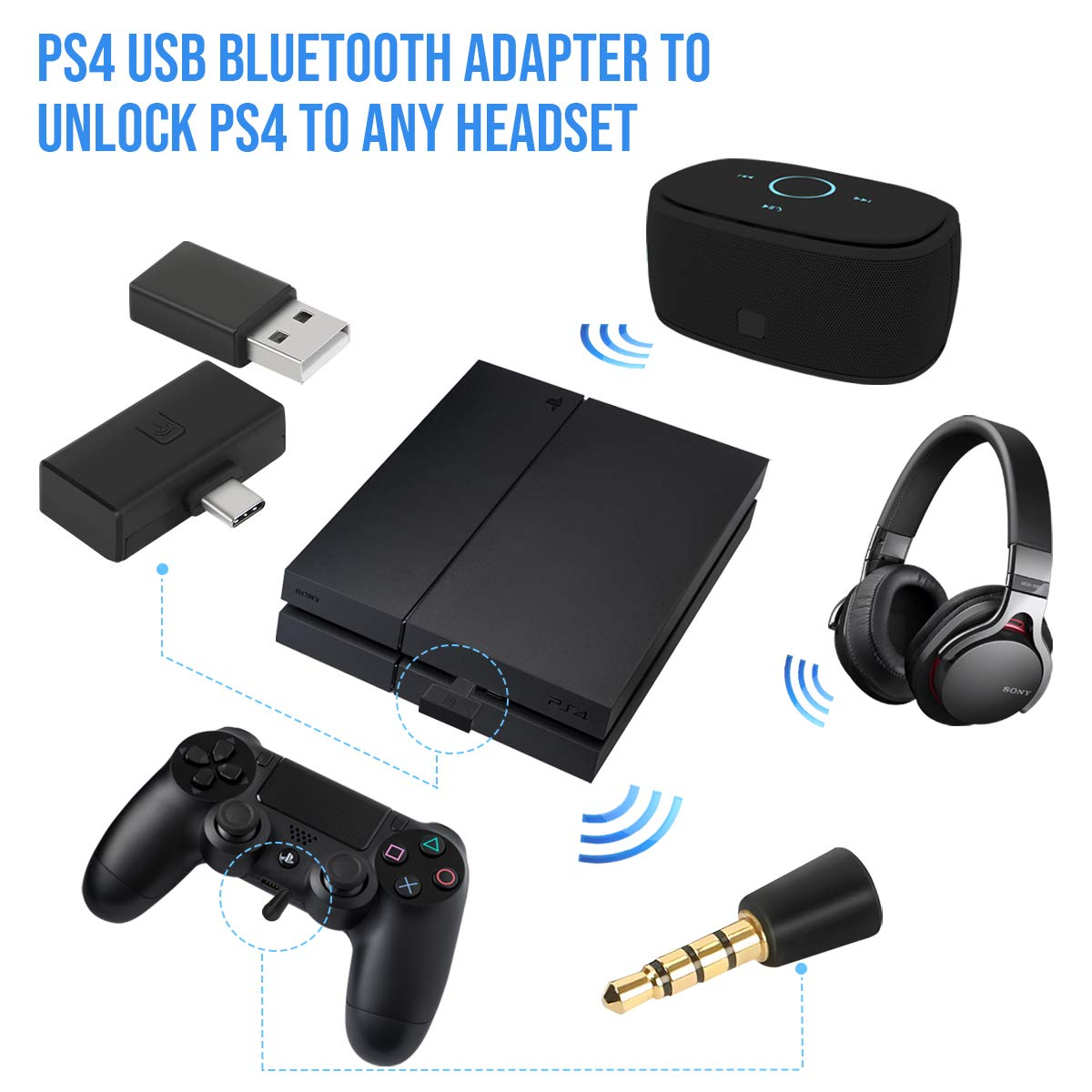 Amazon Com Hde Bluetooth Dongle Adapter For Sony Playstation 4 Ps4 Wireless Bt Audio Transmitter With Microphone Adapter For In Game Chat Audio Video Games