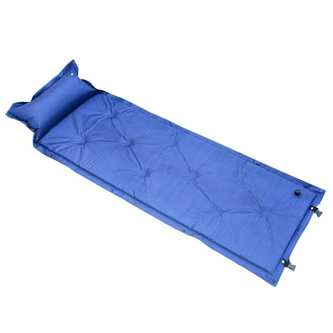 Ultralight Self Inflating Camping Sleeping Pad Airマットレスベッドwith膨らませの枕バックパッキングテントハイキングビーチ旅行by Hi Suyi B07BGXCJB6  ブルー
