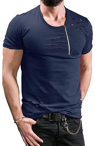 68367cbc6 Rrive Mens Distressed Ripped Holes Zipper Slim Fit Punk T-Shirt Tees |  Amazon.com