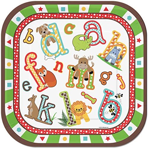 ABC Alphabet Square 24 Count 9 inch Birthday Party Lunch Plates ()