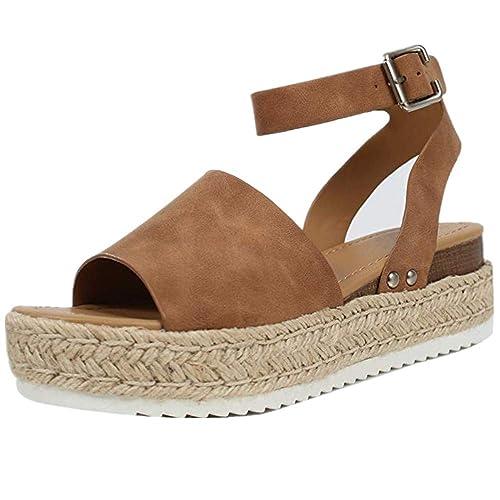 b14ec5661a861 Ymost Womens Wedges Sandal Open Toe Ankle Strap Trendy Espadrille Platform  Sandals Flats