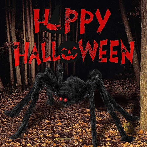 Yostyle 5.4 Ft Halloween Giant Spider Decoration Outdoor with 200'' Halloween Spider Web, Stretch Cobweb, 10 Small Plastic Spiders, Scary Spider Props for Indoor, Outdoor and Yard Creepy Decor
