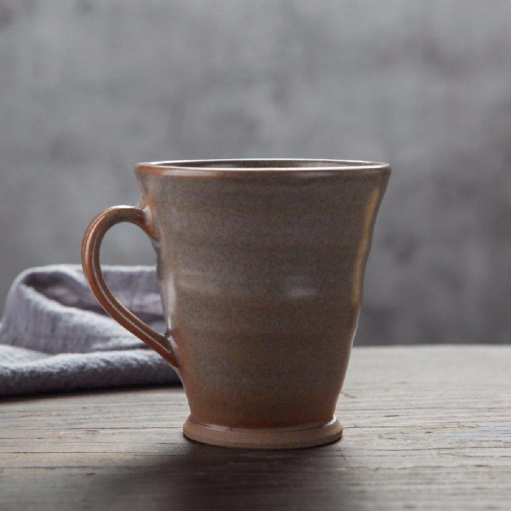 HQLCx Japaneseセラミックマグクリエイティブコーヒーカップ グレー 9558516047725  グレー B078MC51BW