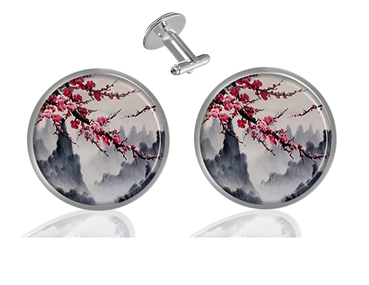 Sechao Cherry Blossom Tree Custom Elegant Personalized Business Wedding Shirt Formal Cufflinks Kit B07G3R12FN_US