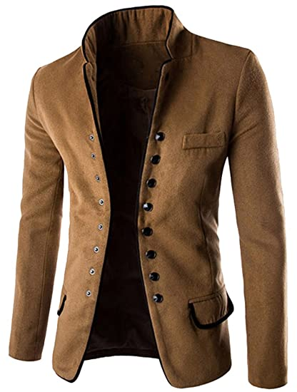 Debout Blouson Manteau Breasted Coat Veste Slim Laine Homme Col Brinny L Parka Marron Et Accessoires En Fit Vêtements Blazer Single EqSIwRg