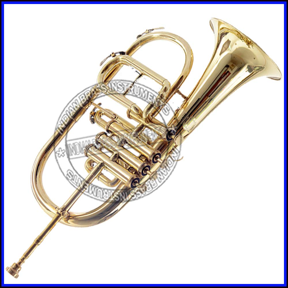 NASIR ALI NEW STUDENT MODEL FLUGEL HORN 4 VALVE Bb PITCH BRASS WITH FREE HARD CASE + MP + TUNED