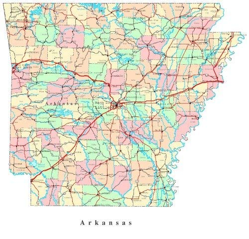 Arkansas County Maps - Home Comforts Peel-n-Stick Poster of Arkansas State Road Map County City Vivid Imagery Poster 24 x 16 Adhesive Sticker Poster Print
