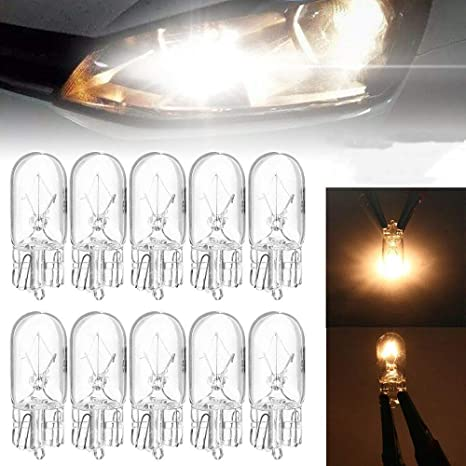 Mzy1188 Pack Of 10 Halogen Bulbs Warm White 12v 5w T10 W5w 194 168 Car License Plate Light Wide Lamp Halogen Bulbs Signal Light Car Accessories Küche Haushalt